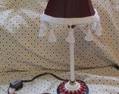 upcycled Accent table lamp hand painted MacKenzie Childs inspired fabric shade