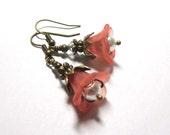 Earrings, Coral Lucite  Flowers, Floral Earrings, Antique Brass, Swarovski Austrian Crystals, Crystal Pearlsls