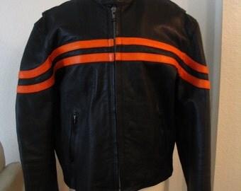Hot Leathers Black Orange Motorcycle Jacket Size L to XL