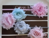 SALE Baby Headband - Infant Headband - Newborn/Toddler/Girl  - Value Pack - 5-Pack Mini Shabby Flowers on Thin Stretch Headband- Ph