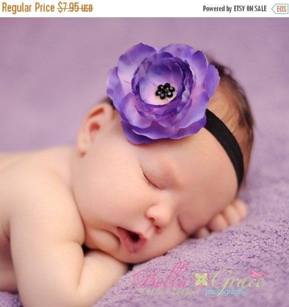 SALE Baby Headband - Purple Flower - Infant Headband - Toddler Headband - Newborn Headband - Black Headband - Photography Prop