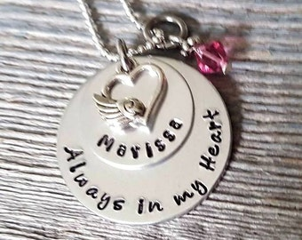 Memorial Necklace - Memory of Mom-Memory of Dad-Loss of Father-Loss of son daughter-Loss of Parent-Always in my heart-Loss of Child