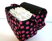 "Large 4"" Size Coupon Organizer / Coupon Bag /Budget Holder Box Attaches to Your Shopping Cart  Black with Pink Dots  - Select Your Size"