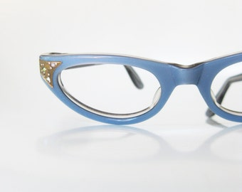 Vintage 1960s Blue Cat Eye Eyeglasses Glasses Pastel Rhinestone Pin Up Deadstock Swan Optical USA Robins Egg 60s Sixties Womens Ladies Shiny