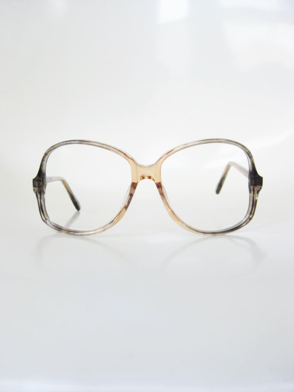 4199e66776 Oversized Vintage Eyeglasses 1970s Huge Glasses Womens Ladies Peach Pink  Grey Fade 70s Seventies Retro Boho