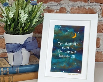 Personalised Bible Verse Christian Nursery Print Night Sky Moon Stars