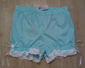 SALE size uk 10 short pale green polkadot bloomers us 6 cute kawaii knickers pantaloons ready to ship