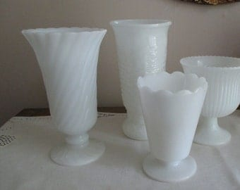 Vintage Vase  Grouping 3 Wedding Table Setting Milk Glass INSTANT COLLECTION Event Decor Lot