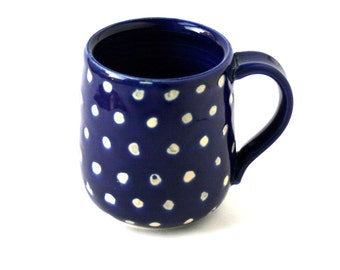Cobalt Blue and White Polka Dots MUG
