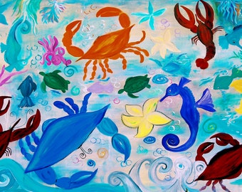Sea creatures pillow case from my original art