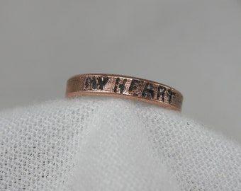 "TOE RING, COPPER , Hand engraved with the word ""My Heart"". The Toe Ring will adjust by giving it a gentle squeeze, 3 mm wide, Satin Finish"