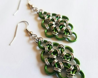 Green Anodized Aluminum Japanese 12-in-2 Chainmaille Earrings