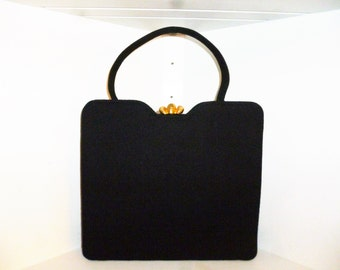 Vintage 50's - Garay -Jet Black - Wool - Embellished Gold Tone Kiss Lock -Structured - Box - Kelly - Hand Bag - 10.5 x 9.5 x 2.25