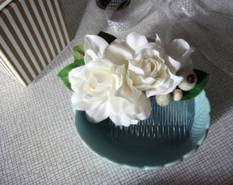 Swell Dame vintage style hair comb with gardenias Billie Holiday
