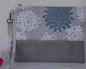 Wristlet wallet /grey / Makeup Bag/clutch/phone case/ iphone 6 case/womens wallet/ Cellphone Wristlet, Padded Zipper Pouch