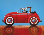 089 VW red - folded art card 15x15cm/6x6inch with envelope