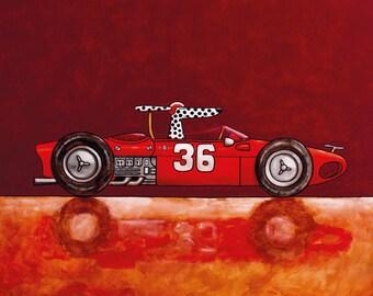 026 Ferrari Dino 1961 - dog driving folded art card 15x15cm/6x6inch with envelope