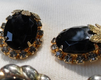 FREE SHIPPING Lot 8 Pr Vintage Clip Earrings Gold Black White Various Styles