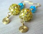 Rhinestone Disco Ball Earrings, Gold Disco Ball Earrings, Brass Earrings, Pave Bead Earrings, Pave Rhinestone Ball Earrings, Pavé Beads