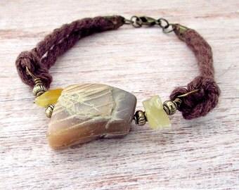 Mens Boho Gemstone Bracelet - Mens Gemstone Stackable Bracelet -Mens Nautical Rope Bracelet - Nautical Rope Bracelet - Mens Bracelet - Boho