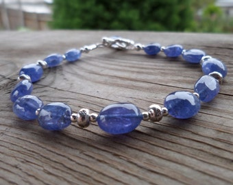 Beautiful Genuine Tanzanite and Sterling and Fine Silver Gemstone and Birthstone Bracelet