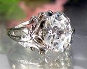 Vintage STERLING CZ ENGAGEMENT Ring Silver Floral Art Nouveau Design Sz 7.75