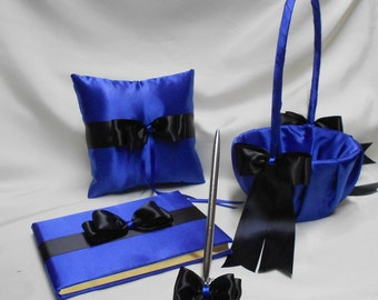 Wedding Accessories Royal Blue Black Flower Girl Basket Ring Bearer Pillow Guest Book Pen Set Your Colors