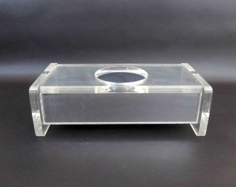 Vintage Mid Century Lucite Tissue Box with Mirrored Sides. Circa 1960's.