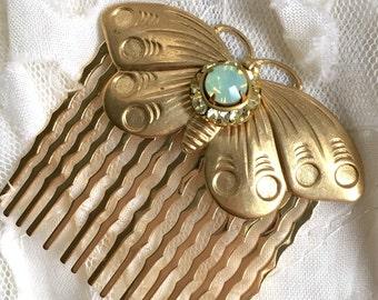 Golden Butterfly Swarovski Crystal Hair Comb