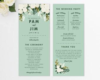 Custom Wedding Program  // Vintage Inspired Wedding Program // Order of Ceremony // Botanical Wedding Program // Modern