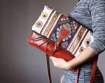Fold over leather bag, leather clutch, tribal boho bag, gipsy bag, cross body bag, kilim bag, hippie bag, Aztec bag, leather bag, carpet bag