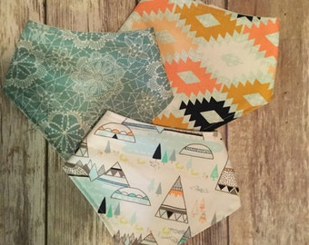 Baby Toddler Drool Bib Bandana Bibdana Waterproof - You Choose the Fabric - Trendy Coral Green Blue Aqua Lace Aztec Tee Pee