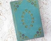 Antique / Vintage Robin's Egg Blue Decorative Book, Marmion, by Sir Walter Scott, 1808, Illustrated, Home Decor, Clovers, Flowers, Gold Gilt