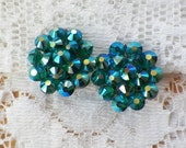 Sparkling Vintage Teal Blue / Green Cluster Bead Clip On Earrings, Iridescent / AB / Aurora Borealis Washed Faceted Glass Cluster Beads