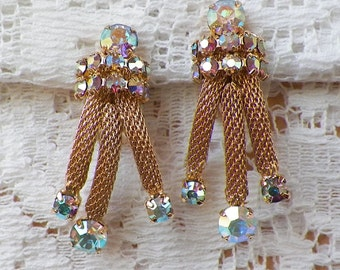 Vintage Dangling Aurora Borealis / AB Rhinestone Clip On Earrings, Shiny Gold Tone Metal, Sparkling Rhinestones, Bride / Bridal / Evening