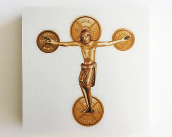 Weight of the World, Decorative Cross, Cross, Gold Cross, Cross Art, Christian Art, Hostess Gift, Weight Lifter, Christian