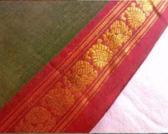 Indian Handloom Saree Peacock Border Print, Indian Sari Fabric By The Yard, Cotton Sarees, Hand Woven Ethnic Print Fabric, India Fabric