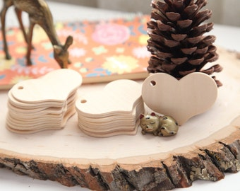 25 - Natural Wooden Heart Tags, Heart Gift Tags, Heart Packaging Tags, Crafting, Scrapbooking
