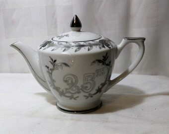 Vintage LEFTON China Teapot, 25th Anniversary, Silver Anniversary