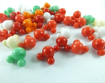37 pcs 10 mm x 12 mm , Plastic Beads , Mixed Color beads , Lucite beads ,  Lucite Beads ...Findings