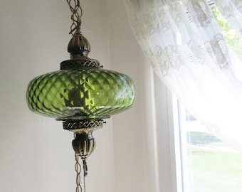 Hanging Swag Lamp Green 1970s Pendant Chain Cord Plug In