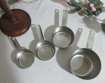 Measuring Cups Stainless Steel with Wood Holder