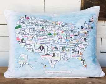 USA Icon Map Pillow