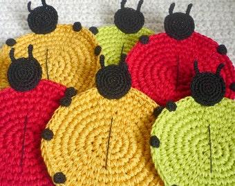 Crochet Coasters -Ladybug Coasters - Rustic Home Decor - Animal Coasters - Drink Coasters - Gift for Mom - Housewarming Gift - Set of 6