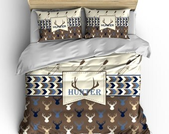 Custom Personalized Deer Head and Antler Bedding Set -Available Twin-TWXL-Queen- King  size - shown  brown, toast, tan and navy - any color