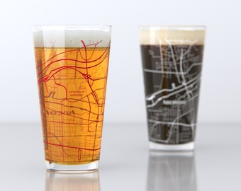 Tuscaloosa, AL - University of Alabama - College Town Pint Map Glasses