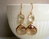 Blush Earrings, Blush Champagne, Gold Framed Glass Earrings, Statement Earrings