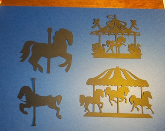 Carousel Die Cut, Set of 8 carouselle silhouettes,carousel silhouettes