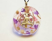 Meditation Real Flowers  Necklace Bohemian Jewelry Yoga Pose Meditate Charm Spiritual Resin Pendant Nature  Symbol Purple White Pink Glitter