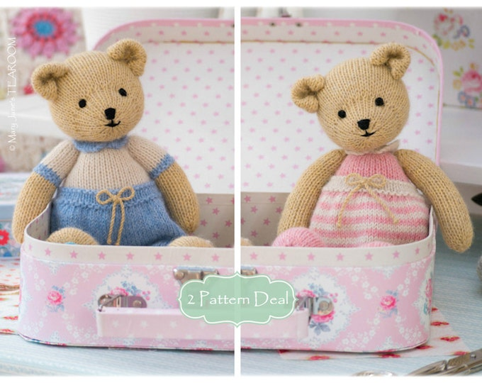New! 2 Teddy Bear Knitting Pattern Deal/ TEAROOM Girl and Boy Bear Toy Patterns/ INSTANT Download/ Small Knitted Bears